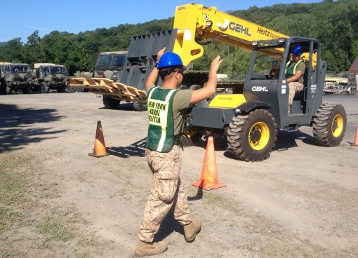 "Two Naval Militia members conduct forklift training on Saturday, July 25, during the New York Naval Militia's ""Rapid Gunwale"" exercise at Camp Smith Training Site. The exercise provided an opportunity for Naval Militia members to exercise s"