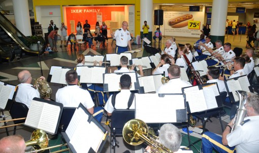 The New York Army National Guards 42nd Infantry Division Band plays a free concert at Broadway Mall in Hicksville, Nassau County on August 11th 2015, as part of their annual training.Band members toured throughout the State, performing music spanning and