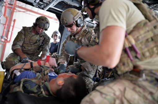 Pararescue Jumpers and Combat Rescue Officers with the 103rd Rescue Squadron 106th Rescue Wing conduct mass casualty training with the Battlefield Air Targeting Man-Aided Knowledge System (BATMAN) at FS Gabreski ANG on August 25 2015.The BATMAN system is