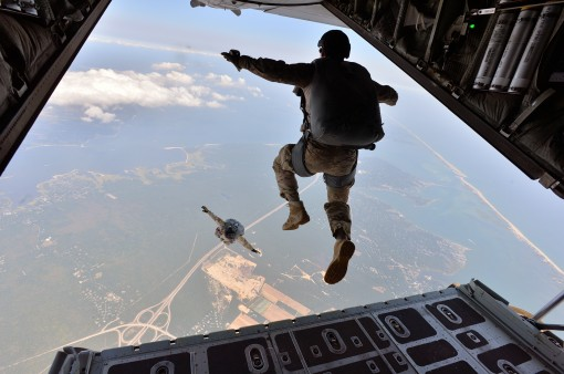 Air National Guard Chief Master Sergeant James W. Hotaling conducts his final jump from a military aircraft with Pararescue Jumpers from the New York Air National Guard's 103rd Rescue Squadron 106th Rescue Wing over FS Gabreski ANG on September 2nd 2