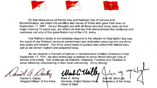 Army Leadership Patriot Day Message