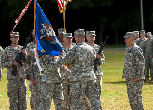 Lt. Col. Kevin Ferreira takes command from Lt. Col. Jeffrey Baker for the 3-142nd Aviation