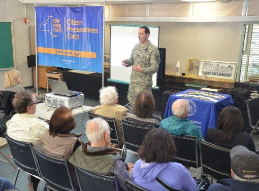 New York Army National Guard Captain Stephen Totter, Citizen Preparedness Training Instructor leads a Citizens Emergency Preparedness Corps session held at the Great Neck Social Center  in Great Neck (Long Island), NY on October 20th 2015.
