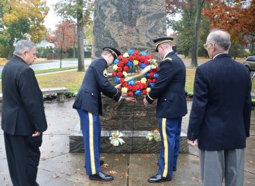 New York Army National Guard Major Ian Seagriff and Staff Sergeant Justin Wolcott presented a memorial wreath on behalf of the New York Army National Guards 42nd Infantry Division at the World War I Rainbow Division Veterans Memorial located on Long Islan