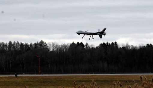 An MQ-9 remotely piloted aircraft operated by the New York Air National Guards 174th Attack Wing takes to the air from the runway at  Syracuse Hancock International Airport in Syracuse N.Y. on Wednesday Dec. 162015. This was the first time a military RPA