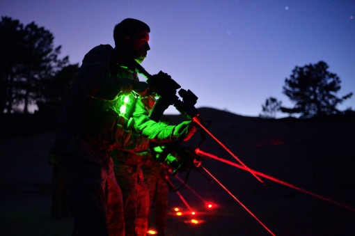 Security Forces Squadron members of the 106th Rescue Wing conduct night-firing training at the Suffolk County Police Range in Westhampton Beach, N.Y., May 7, 2015. During this training, the airmen learned small-group tactics, how to use their night-vision