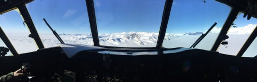 "The view from theflight deck of a New York Air National Guard LC-130 ""Skibird"" as aircrew assigned to the 139th Expeditionary Airlift Squadron fly a mission in support of Operation Deep Freeze in Antarctica Dec. 2 2015."