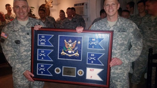 New York Army National Guard Command Sgt. Major James Meltz (left) and Lt. Col. Sean  Flynn commander of the 1st Battalion 69th Infantry display Meltzs retirement gift following battalion change of responsibility ceremonies in Friday Jan. 29 2016 at Camp