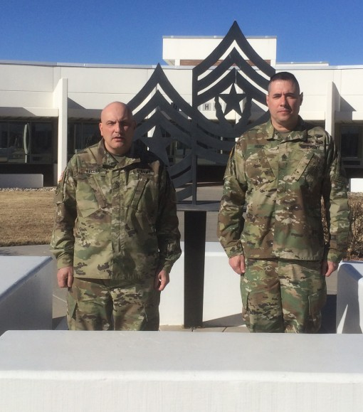 New York Army National Guard Sergeant Major Eric Heller (left) the Operations Sergeant Major for the 2nd Squadron 101st Cavalry and Sergeant Major Eric Hunt, the Operations/Retention Sergeant Major for the New York Army National Guard Recruiting and Reten