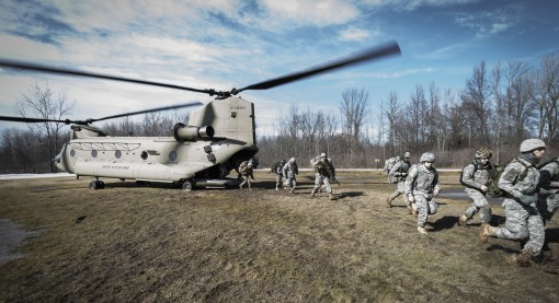 -New York Army National Guard Soldiers from C Troop 2nd Squadron 101st Cavalry from Buffalo simulate being inserted at a landing zone from a U.S. Army CH-47 Chinook helicopter assigned to Company B 3rd Battalion  126th Aviation at the Youngstown Local Tra