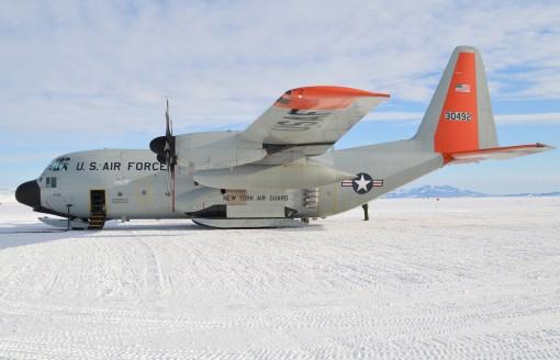n LC-130 Skibird from the New York Air National Guard's 109th Airlift Wing , like this one sitting on the ice runway near McMurdo Station Antarctica Nov. 9 2015 flew an emergency mission on Saturday, Feb 27, to carry 35 Australian researchers from th