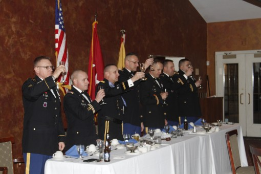 ROCHESTER--Leaders of the New York Army National Guard's 42nd Combat Aviation Brigade join Major General Harry Miller in a toast during the brigade's Dining In at the Brook Lea Country Club  here on Feb. 27, 2016.