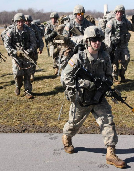 New York Army National Guard Soldiers from Company C 2nd exercising situational training which included battle drill evaluation lanes which allowed the troops to practice key tasks during training at the New York State Preparedness Training Center on Satu