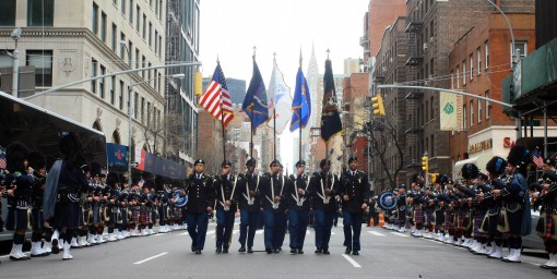 NEW YORK-New York Army National Guard Soldiers from 1st Battalion, 69th Infantry Regiment once again led the country's largest St. Patrick's Day Parade in New York Mar. 17. After leading the parade, the unit took a special subway train back to i