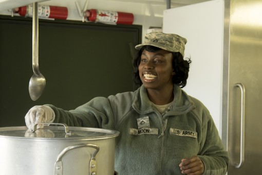 New York Army National Guard Spc. Taleshat Moon, a member of the mess section of the 369th Sustainment Brigade prepares lunch for unit members at Camp Smith Training Site in Cortlandt Manor, N.Y. on March 19, 2016. The mess section was being evaluated as