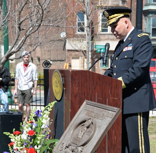 Brig. Gen. Raymond Shields the Director of Joint Staff for the New Yuork National Guard speaks during ceremonies marking the unveiling of a statue of Col. Albert Pawling a Revolutionary War leader and the first major of Troy N.Y. during a ceremony in Troy