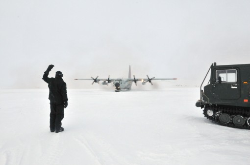New York Air National Guard Maj. Matthew Sala taxis in an LC-130 aircraft on the ski-way at Little Cornwallis Island Nunavut Canada on April 13 2016 in support of Canadas annual Operation Nunalivut. Sala was part of the eight-person team from the New York