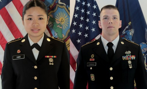 New York Army National Guard Soldier Spc. Qian Han was named the top junior enlisted Soldier and Staff Sgt. Garrett Cummings was named best NCO during the Best Warrior Competition at Camp Smith Training Site on April 23, 2016.