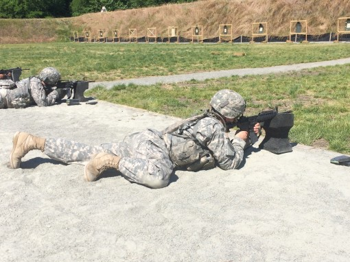 New York Army National Guard Staff Sgt. Marcus Vendittuoli, A member of  Detachment 1 of the 42nd Infantry Division's Signal Company, fires his weapon on the M4 zero range during  annual training at Camp Smith on Saturday, June 18, 2016.