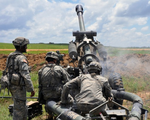 FORT POLK--New York Army National Guard Soldiers assigned to Gun 8 Bravo Battery 1st Battalion 258th Field Artillery based in Bronx N.Y. fire their M119 Howitzer during training at the Joint Readiness Training Center Ft. Polk La. July 26 2016. Approximate