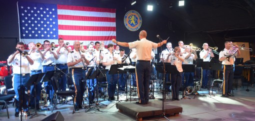Members of the  New York Army National Guard's 42nd Infantry Division Band play a free concert at Eisenhower Park, Nassau County on the evening of August 10th 2016. The band has been appearing in communities across New York State this August. The con