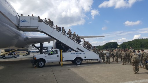 -Soldiers of the 369th Sustainment Brigade board a plane at Stewart Airport on Friday, Sept.9, 2016  on their way to Fort Hood, Texas as they prepare for a deployment to Camp Arifjan, Kuwait later this year.
