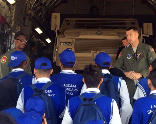 New York Air National Guard Tech Sgt. Ken Martini (right) speaks to students about the C-17 on Sept. 16 2016 at the 2016 Africa Aerospace and Defense Airshow and Exhibition at the South Africa National Defense Forces Waterkloof Air Force Base. Thirty-nine