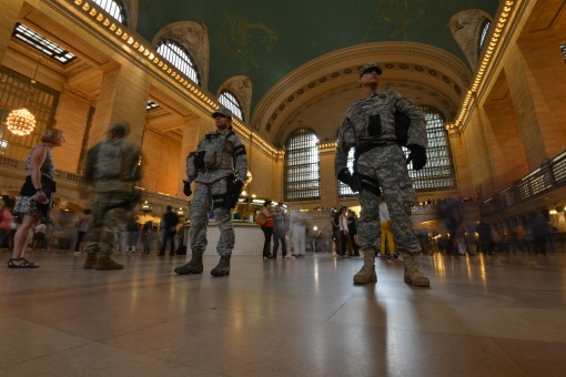 New York National Guard Soldiers assigned to Joint Task Force Empire Shield, the New York National Guard security force in New York City, patrol in Grand Central Station on Tuesday, Sept. 21. The New York National Guard added additional Soldiers and Airme