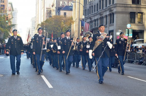 "Soldiers of the 42nd Infantry Division "" Rainbow"" Band perform during the New York City Veterans Day Parade on Nov. 11, 2016."