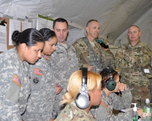 Army National Guard Director Lt. General Timothy J. Kadavy ( far right) visits members of the 42nd Combat Aviation Brigade during a Warfighter command post exercise at Fort Indiantown Gap, Pennyslvania on Wednesday, Nov. 16.