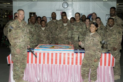 369th Soldiers Celebrate Guard B-Day in Kuwait