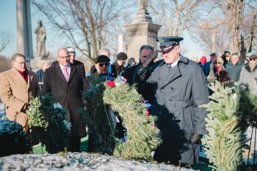 Col. Gary R. Charlton vice commander of the 107th Airlift Wing Niagara Falls Air Reserve Station presents a wreath at the grave of President Millard Fillmore on behalf of President Barack Obama Forest Lawn Cemetery Buffalo N.Y. Jan. 6 2017. The ceremony w