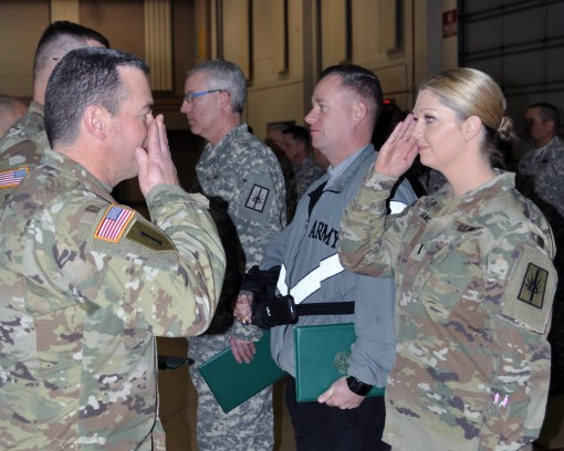 New York Army National Guard Chief Warrant Officer 3 Kelly Fancher assigned to the Joint Force Headquarters received recognition, Jan. 7, for meritorious achievement during a Joint Readiness Training Center Exercise, at Ft. Polk, La., in July 2016. Fanche