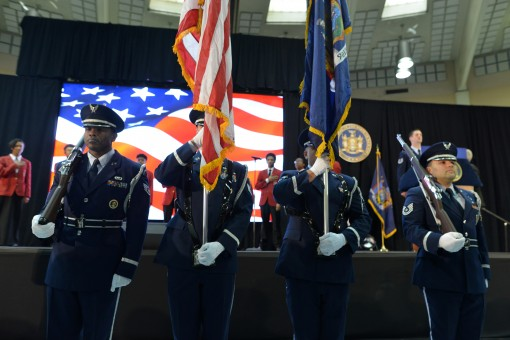 FARMINGDALE-- New York Air National Guard Tech Sgt. James Bavaro, Tech Sgt. Jason Rios, Staff Sgt. Michael Pennolino ,and Staff Sgt. Dwayne Morgan, all members of the 106th Rescue Wing Honor Guard, present the colors during Gov. Andrew M. Cuomo's reg