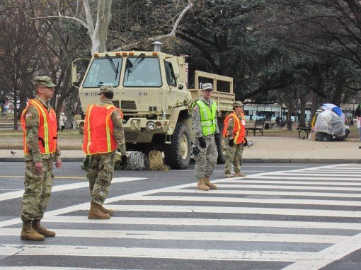 Soldiers assigned to the New York Army National Guard man a traffic control point during the presidential Inauguration in Washington, D.C. on Jan. 20, 2017. The Soldiers were among 300 New York National Guard Soldiers and Airmen who assisted in traffic an