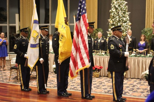 Color guard members open the New York Guard and Naval Militia holiday celebration at the United States Military Academy Officers Club on Dec. 3, 2016.