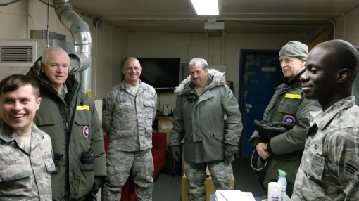 U.S. Army Lt. Gen. Dan Hokanson,the vice chief of the  National Guard Bureau, second from right; and United States Air Force Lt. Gen. Scott Rice, Air National Guard Director, meet with Airmen of the 109th Airlift Wing on Feb. 2 during a visit to Operation