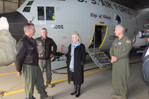 Col Shawn Clouthier Commander 109th Airlift Wing Stratton Air National Guard base Scotia NY along with Col Alan Ross Vice Commander 109th Airlift Wing and Major General Anthony German, the Adjutant General of New York,  gives a tour of the units LC-130 ai