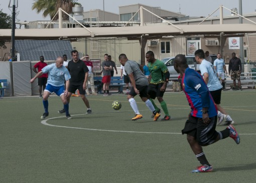Guard Soldiers play Soccer in Kuwait