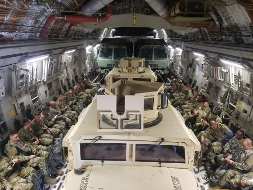 Airmen assigned to the New York Air National Guard's 105th Base Defense Squadron fly on a 105th Airlift Wing C-17 Globemaster III to Avon Park Range Florida to participate in a Mission Readiness Exercise. The Airmen lived in field conditions for near