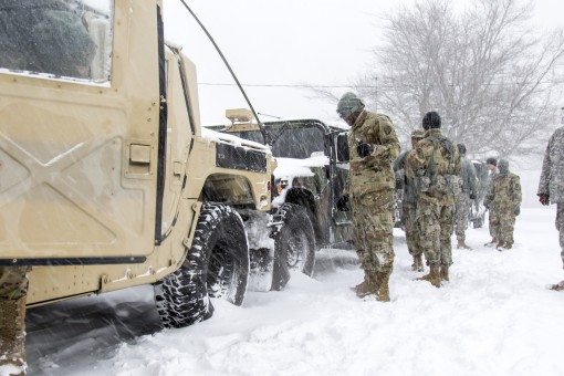 New York Army National Guard soldiers assigned to Alpha Company 101 Signal Company prepare for a traffic control mission in response to   Winter Storm Stella at Camp Smith N.Y., March 14 2017. The New York Army National Guard 53rd Troop Command activated