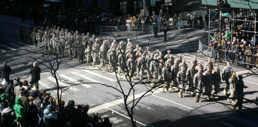 New York Army National Guardsmen assigned to 1st Battalion, 69th Infantry Regiment once again led the New York City's St. Patrick's Day Parade here Mar. 17. The regiment, which has a long and storied history with the parade began its day by atte