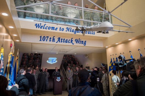 --Col. Robert Kilgore commander of the 107th Attack Wing New York Air National Guard addresses visitors in attendance at a ceremony announcing the redesignation of the wing from an airlift wing to an attack wing Niagara Falls Air Reserve Station N.Y. Marc