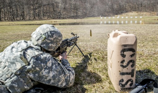 U.S. Army Sgt. Mitchell Stogel fires an M249 SAW during the stress shoot component of the New York Army National Guard Best Warrior Competition at Camp Smith Training Site March 30 2017. The Best Warrior competitors represent each of New Yorks brigades af
