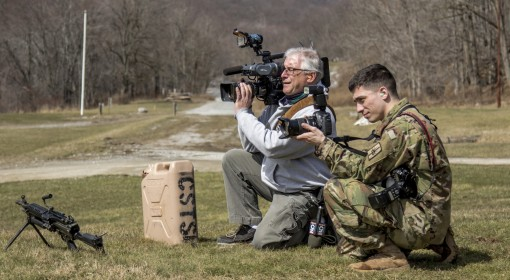 U.S. Army Sgt. Harley Jelis, a public affairs specialist attached to the 138th Public Affairs Detachment, 53rd Troop Command, New York Army National Guard, and winner of the U.S. Army Keith L. Ware Military Photographer of the Year award, shoots photos an