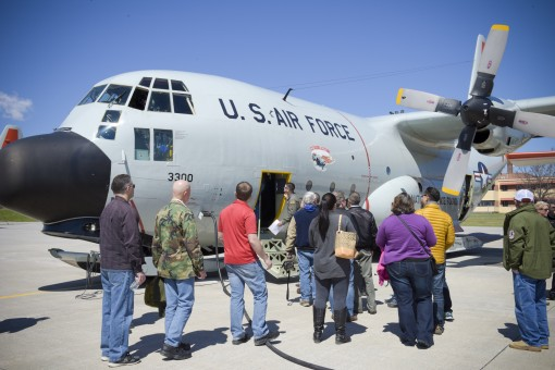 "Employers of Airmen assigned to the 109th Airlift Wing of the New York Air National Guard board an LC-130 ""Skibird"" at Stratton Air National Guard Base in Scotia, N.Y. on April 14. The wing flies the only ski-equipped aircraft in the U.S. milita"