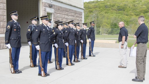 Four New York Army National Guard Soldiers along with eight other Army National Guard Soldiers from across the country rehearse the movements and commands of a full military funeral during the 80-hour Train-the-trainer Military Funeral Honors course at Ca
