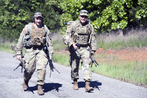 Sgt. David Peters, 2nd Squadron 101st Cavalry; and Staff Sgt. Masami Yamakado, 1st Battalion 69th Infantry; both members of the New York Army National Guard compete on the second day of the 26th Winston P. Wilson Sniper Championship at Ft. Chaffee Joint M
