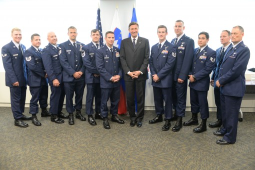 Members of the 102nd and 103rd Rescue Squadrons of the 106th Rescue Wing assigned to the New York Air National Guard, pose with Slovenian President Borut Pahor on in at the Slovenian Permanent Mission to the United Nations in New York City on May 21, 2017