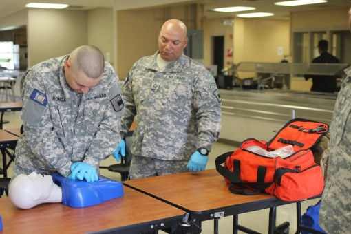 During the 22 April 2017 drill at Camp Smith, CPT Dunbar and WO1 Bashir of the 244th Medical Group conducted a CPR and First Aid certification course for New York Guard service members. While the class was a refresher for some, it was essential that these